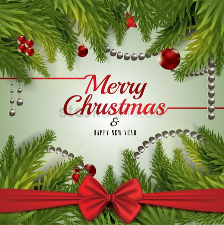 Greetings : Merry christmas and happy new year card design