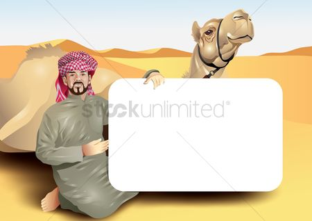 East : Middle eastern man with a camel in the desert