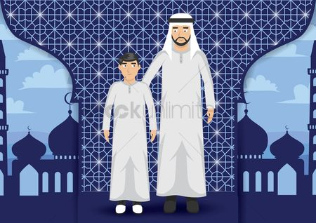 East : Middle eastern man with son