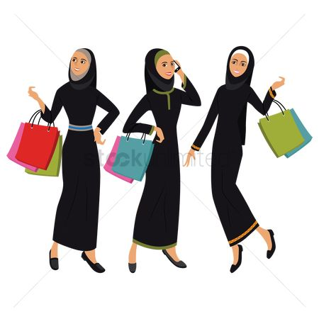 East : Middle eastern women with shopping bags