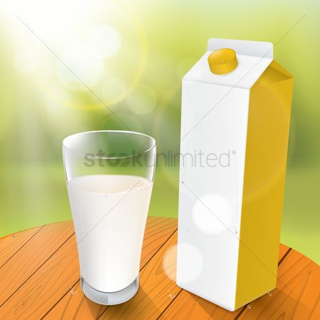 Products : Milk carton with glass