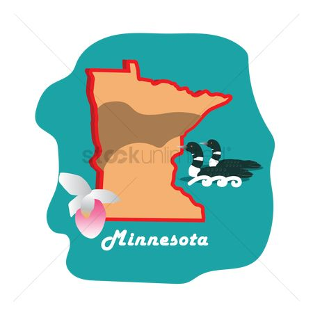 Minnesota : Minnesota state map with common loon and slipper