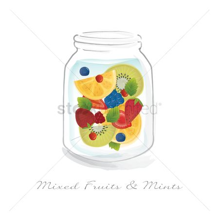 Blueberry : Mixed fruits and mints in a jar