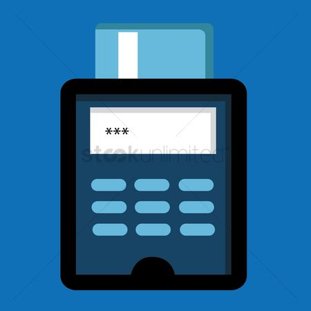 Credits : Modern pos terminal with credit card inserted