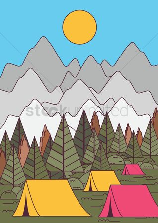 Tents : Mountain landscape