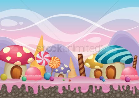 Confectionery : Mushroom house and candies