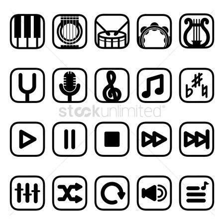Drums : Musical instruments and media player icons