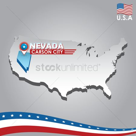 Capital city : Navigation pointer indicating nevada on usa map