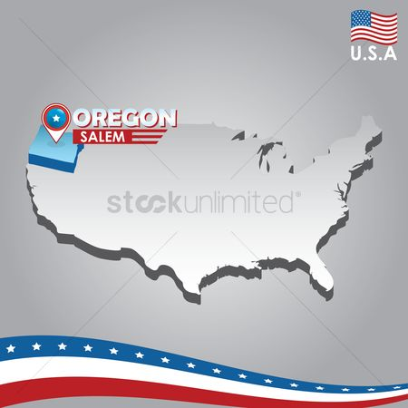 Oregon : Navigation pointer indicating oregon on usa map