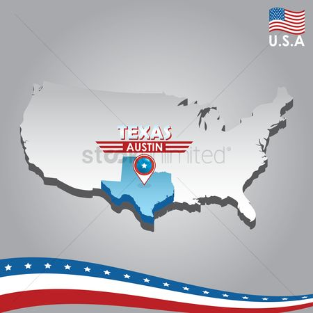 Capital city : Navigation pointer indicating texas on usa map