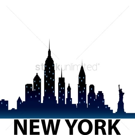 Towers : New york city skyline silhouette