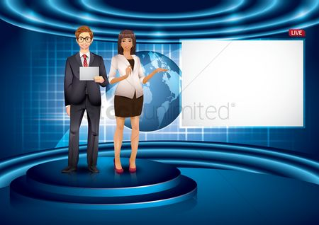 Broadcasting : Newsreaders reading news