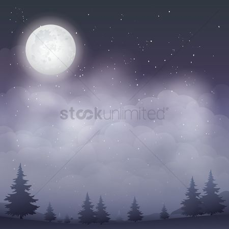 Moon : Night scene outdoors