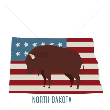 Dakota : North dakota state map with bison