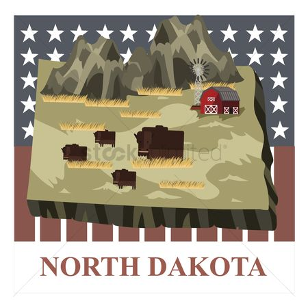 Dakota : North dakota state map