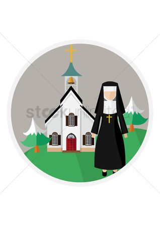 Priest : Nun in front of church