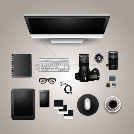 Photography : Office and digital supplies on white background
