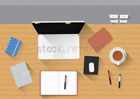Coffee cups : Office desk with laptop  gadgets and stationery