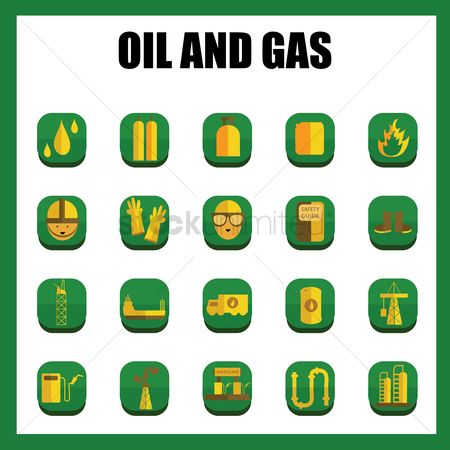 Production : Oil and gas industrial icons