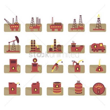 Petroleum : Oil gas related objects set