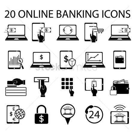 Shopping : Online banking icon set