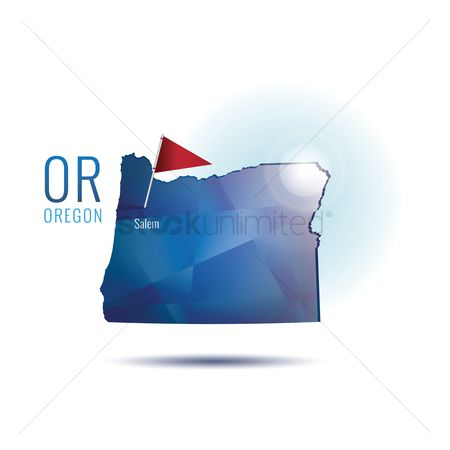 Oregon : Oregon map with capital city