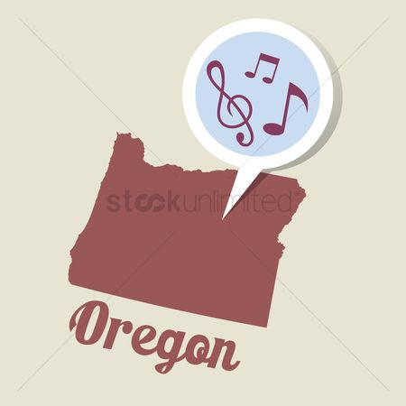 Oregon : Oregon map with musical notes icon