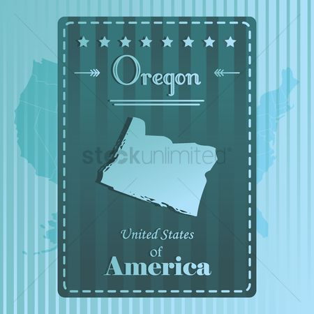 Oregon : Oregon state map label
