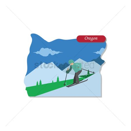 Skiing : Oregon state map