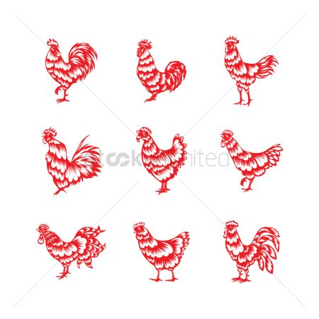 Horoscopes : Oriental rooster design set