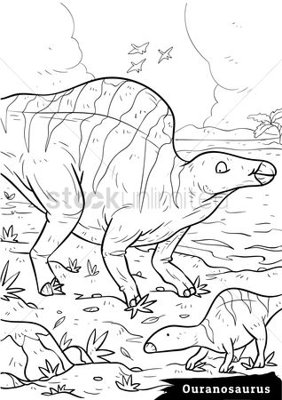 Grass : Ouranosaurus with hatchlings