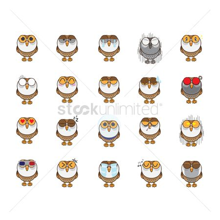 Owl : Owl with various expressions collection