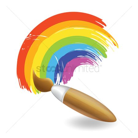 Brushes : Paint brush and rainbow