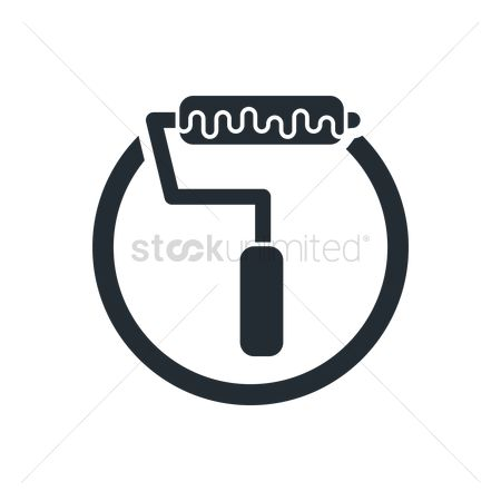 Roller brush : Paint roller icon