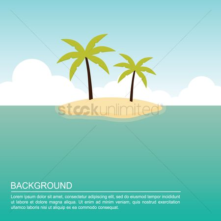 Islands : Palm tree on beach background