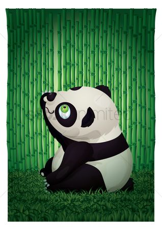 Stems : Panda bear sitting in bamboo forest