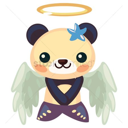 Halo : Panda in mermaid costume with angel wings and halo