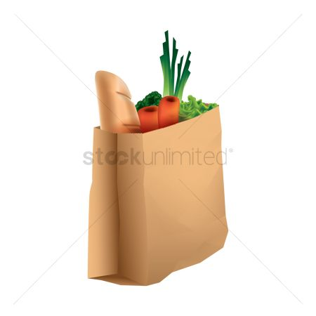 Lettuce : Paper bag with groceries