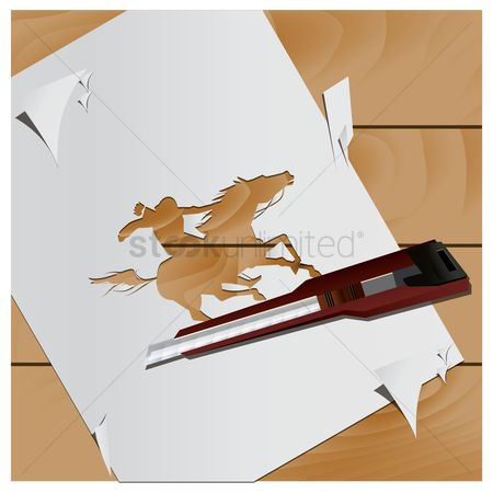Cutters : Paper cutout of man riding on horse