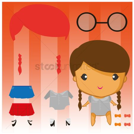 Dolls : Paper doll with set of clothes