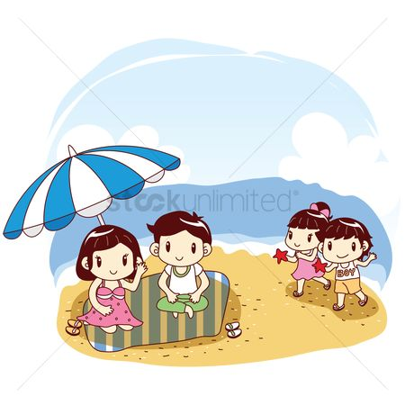 Starfishes : Parents and kids playing at beach