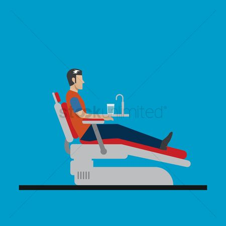 Dentist : Patient sitting on a dental chair