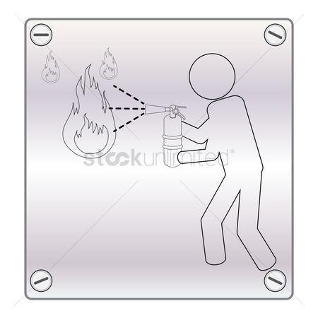 Fire extinguisher : Person extinguishing fire