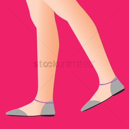 Sandal : Person wearing flat shoes on red background