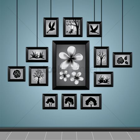 Interior background : Photo frames on a wall