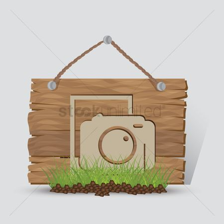 Wooden sign : Photography sign