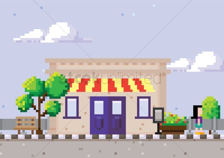 Signages : Pixel art building