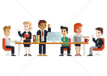 Tables : Pixel art business workplace