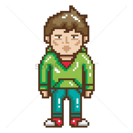 Households : Pixel art teenage son