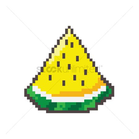 Watermelon slice : Pixel art yellow watermelon slice